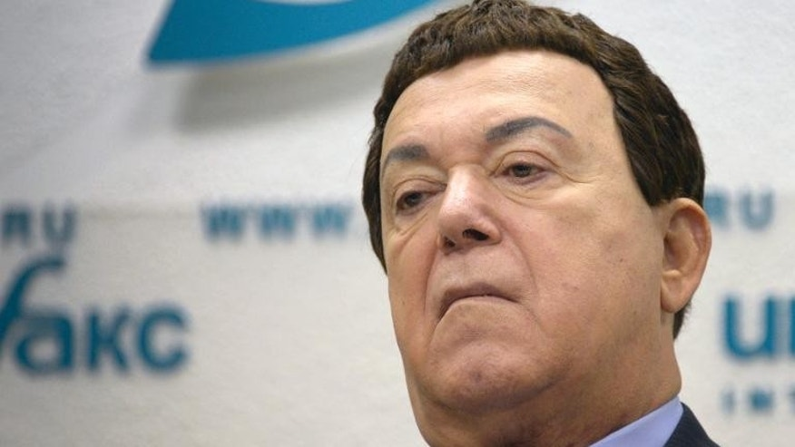 Russian singer and lawmaker Iosif Kobzon attends a press conference in Moscow, on October 1, 2013, on an initiative to nominate Russia's President Vladimir Putin for a Nobel Peace Prize for averting US strikes against Syria