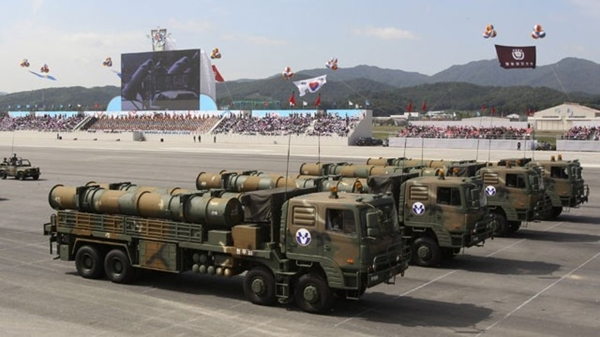 October 1, 2013: South Korean Hyunmu-3 cruise missiles are displayed during a ceremony marking the 65th anniversary of Armed Forces Day at a military airport near Seoul, in Seongnam, South Korea. South Korea displayed the domestically-built missiles capable of hitting all parts of North Korea and other sophisticated weapons at the country's biggest Armed Forces Day ceremony in a decade. (AP Photo)