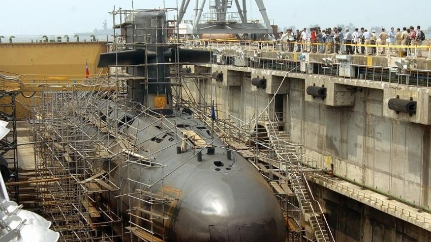 A Dutch-built submarine of Taiwan navy is maintained in a naval shipyard at Tsoying, the major naval base in southern part of the island, September 6, 2005