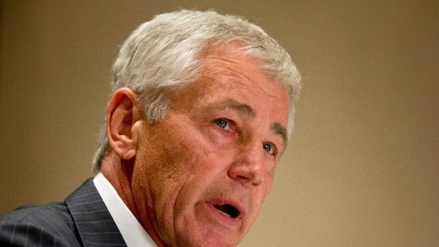 US Defense Secretary Chuck Hagel speaks to the press about the government shutdown in Seoul on October 1, 2013