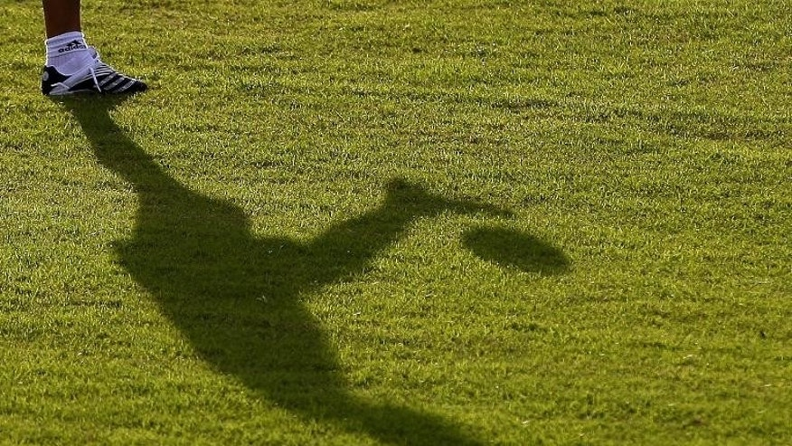 The shadow of Argentinian player falls on the field during a training session of Copa America Venezuela 2007 in Barquisimeto, Venezuela on July 6, 2007