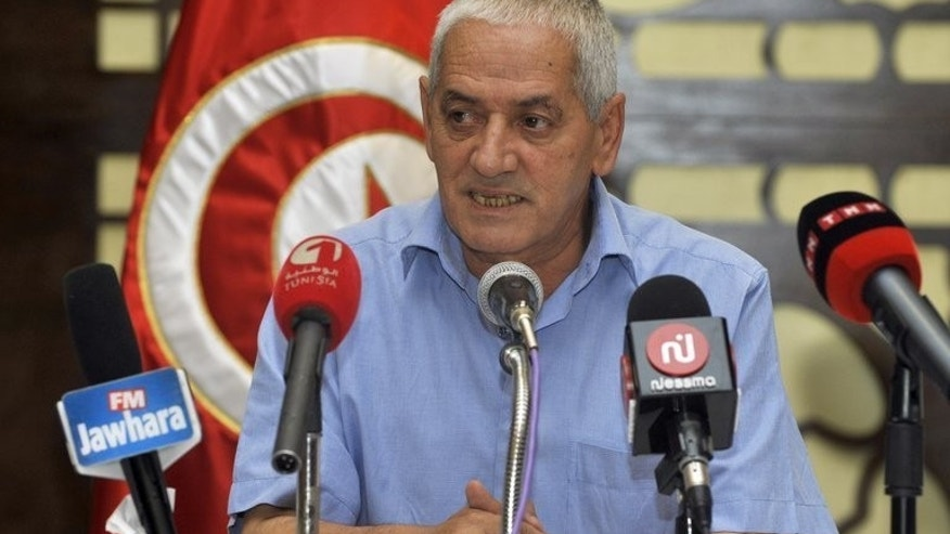 Houcine Abbassi, Secretary General of the Tunisian General Labour Union (UGTT), speaks during a meeting of the UGTT's administrative committee in Tunis on July 29, 2013