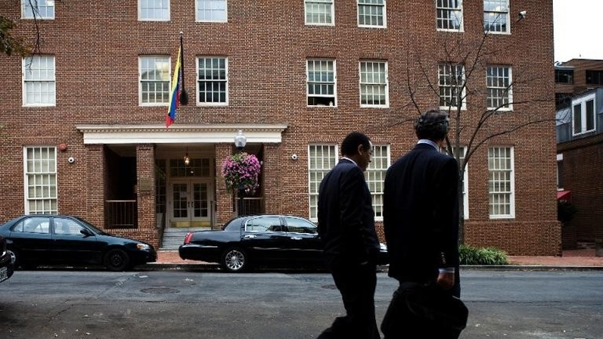 The United States has expelled Venezuela's charge d'affaires from the embassy - shown here- in Washington and two other diplomats in reprisal for the expulsion of three American diplomats from Caracas, both countries said