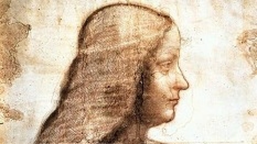 FILE - A drawing of Isabella d'Este by Da Vinci, which a newly discovered painting is based on, is on display in the Louvre Museum in Paris.