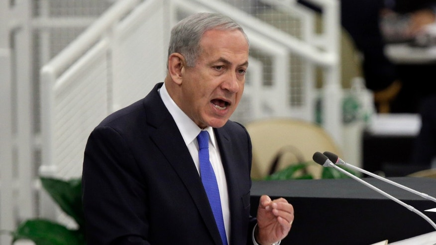 Israel's Prime Minister Benjamin Netanyahu addresses the 68th session of the United Nations General Assembly,  Tuesday, Oct. 1, 2013 at U.N. headquarters. (AP Photo/Richard Drew)