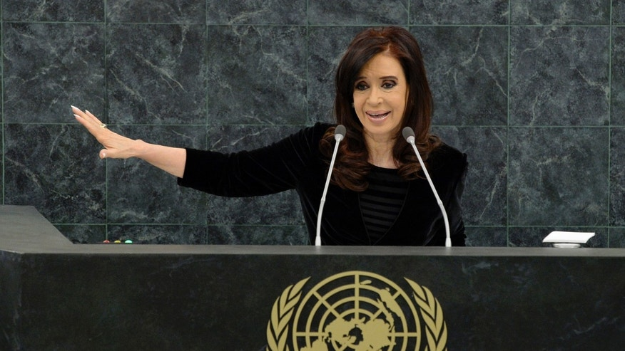 NEW YORK, NY - SEPTEMBER 24:  Argentine President Cristina Fernandez addresses the U.N. General Assembly on September 24, 2013 in New York City. (Photo by Justin Lane-Pool/Getty Images)
