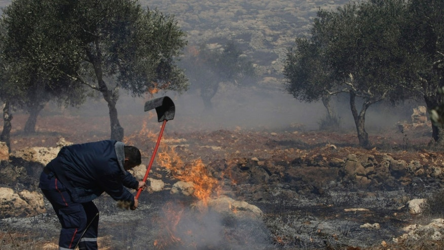 A Palestinian tries to put out the fire in an olive grove in the West Bank village of Jaloud, near Nablus, Wednesday, Oct . 9, 2013. Residents of the village said that masked Jewish settlers burst into a school, vandalized cars and torched olive trees during a rampage that forced schoolchildren to remain locked in classrooms to keep safe. (AP Photo/Nasser Ishtayeh)