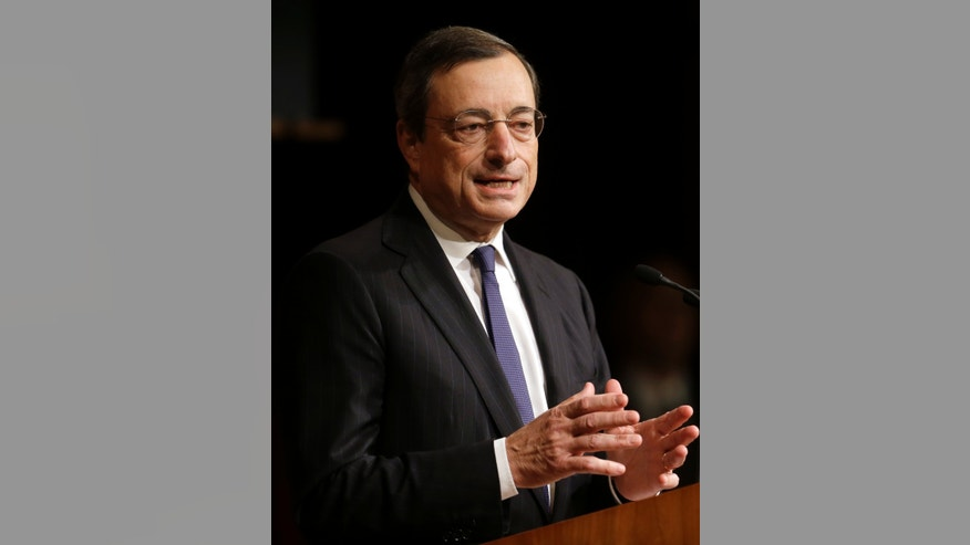 President of the European Central Bank Mario Draghi addresses an audience at the Harvard Kennedy School of Government, on the campus of Harvard University, in Cambridge, Mass., Wednesday, Oct. 9, 2013. (AP Photo/Steven Senne)