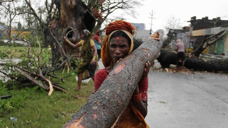 An Indian woman carries away a branch of an uprooted tree from Cyclone Phailin as municipal workers clear a main highway in Berhampur, India, Sunday, Oct. 13, 2013. An immense, powerful cyclone that lashed the Indian coast, forcing 500,000 people to evacuate and causing widespread damage, weakened Sunday after making landfall. Several people died in the rains that fell ahead of the storm, most killed by falling branches, Indian media reported, but the situation on the ground in many areas was still unclear after Cyclone Phailin slammed into the coast Saturday evening in Orissa state, where power and communications lines were down along much of the coastline. (AP Photo/Bikas Das)