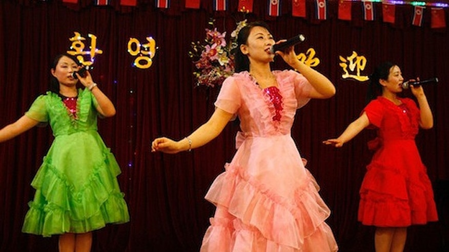 North Korean women sing at a North Korean restaurant in Dandong, China. (AP)