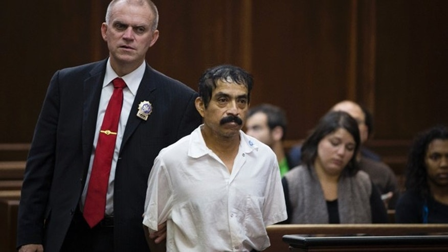 "Conrado Juarez, 52, approaches the bench before his arraignment at Manhattan Criminal Court for the alleged murder of 4-year-old Anjelica Castillo, nicknamed ""Baby Hope"", Saturday, Oct. 12, 2013, in New York. Castillo's body was discovered inside a picnic cooler beside a Manhattan highway in 1991, resulting in a decades old investigation that led to Juarez's arrest and admission that he sexually assaulted and smothered her. (AP Photo/John Minchillo,Pool)"