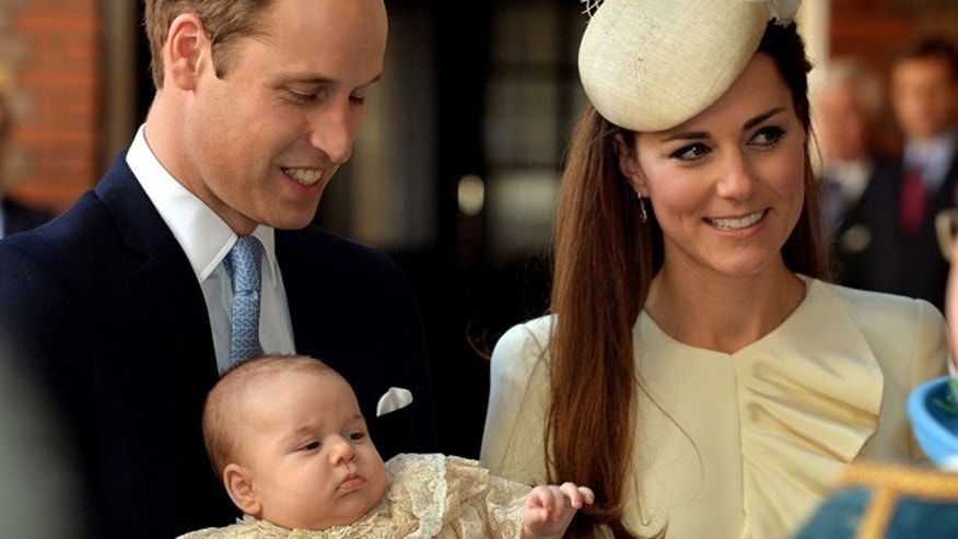 Oct. 23, 2013: Britain's Prince William, Kate Duchess of Cambridge with their son Prince George arrive at Chapel Royal in St James's Palace in London, for the christening of the three month-old Prince George.