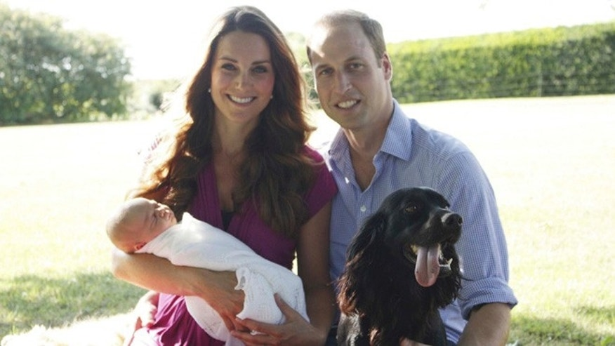 Britain's Prince William and his wife Catherine, Duchess of Cambridge, pose in the garden of the Middleton family home in Bucklebury, southern England, with their son Prince George, cocker spaniel Lupo and Middleton family pet Tilly, in this undated photograph released in London August 19, 2013.