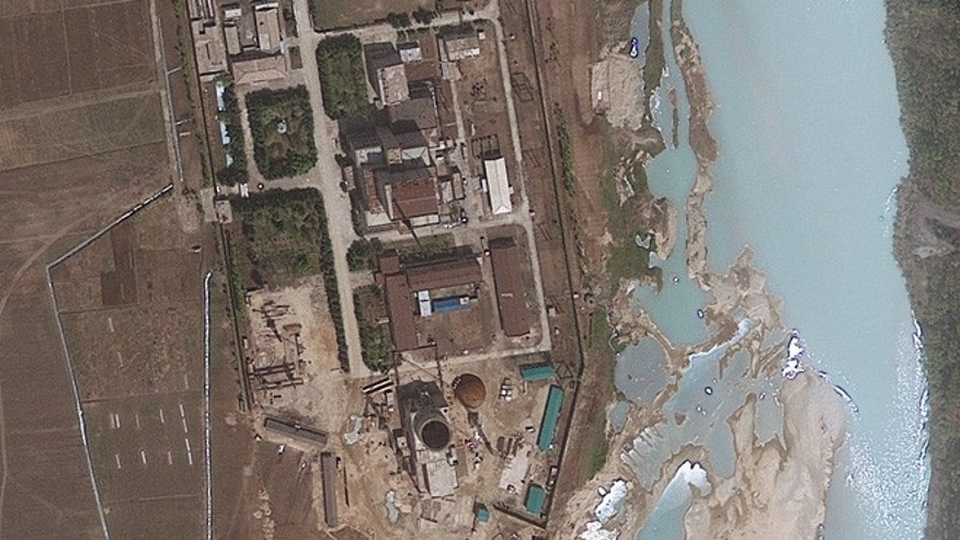 This April 30, 2012 file satellite image provided by GeoEye shows and area around the Yongbyon nuclear facility in Yongbyon, North Korea.