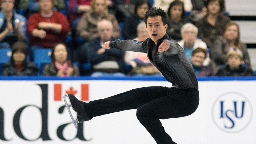 Patrick Chan of Canada competes in the men's short program at Skate Canada International in Saint John, New Brunswick, Friday, Oct. 25, 2013. (AP Photo/The Canadian Press, Andrew Vaughan)