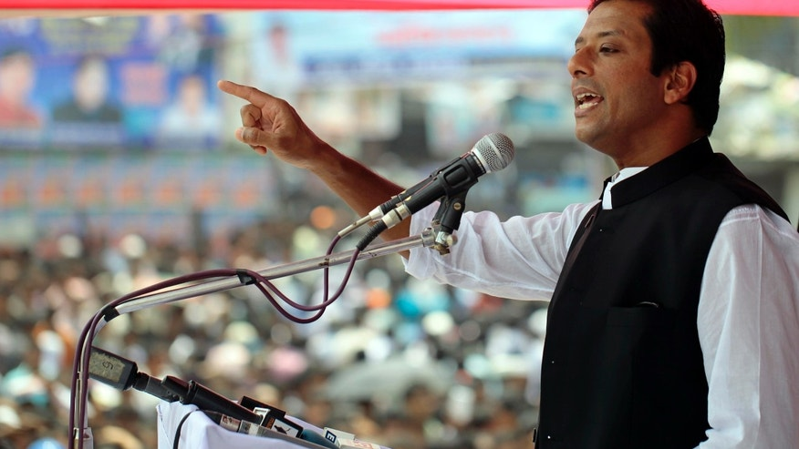 In this Sunday, Sept. 15, 2013 photo, Sajeeb Wazed Joy, 42, the son of Bangladeshi Prime Minister Sheikh Hasina, speaks at an election campaign rally in Tongi, near Dhaka, Bangladesh. Political observers in Bangladesh say that given a few years Joy or Tarique Rahman, the 45-year-old son of opposition leader Khaleda Zia, could become prime minister of Bangladesh, which has been ruled by their two families since the country's 1971 independence from Pakistan. Joy and Rahman have emerged as the country's most powerful political heirs. (AP Photo/A.M. Ahad)