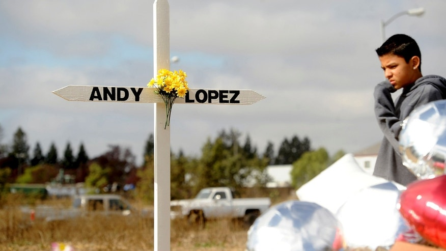 A boy passes a memorial marking the location where sheriff's deputies on Tuesday shot and killed 13-year-old Andy Lopez Cruz in Santa Rosa, California October 27, 2013.