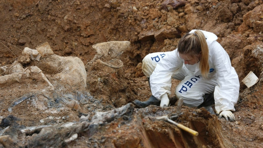 Forensic experts, members of the International Commission on Missing Persons (ICMP), and Bosnian workers search for human remains at a mass grave in the village of Tomasica, near the Bosnian town of Prijedor, 260 kms north west of Sarajevo, on Thursday, Oct. 31, 2013. Forensic experts have unearthed the 360 body  remains so far, but believe there are many more yet undiscovered as they excavate a 7 meters deep trench to find the remains of Bosniaks and Croats killed by Serb forces during their campaign to eliminate all non-Serbs from parts of the country they controlled during the 1992-95 Bosnian war. Authorities are still searching for 1,200 Bosniaks and Croats missing from the area of Prijedor. (AP Photo/Amel Emric)