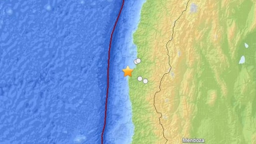Oct. 31, 2013: The U.S. Geological Survey says the quake had a magnitude of 6.6, and its epicenter was located about 40 miles southwest of the city of Coquimbo.