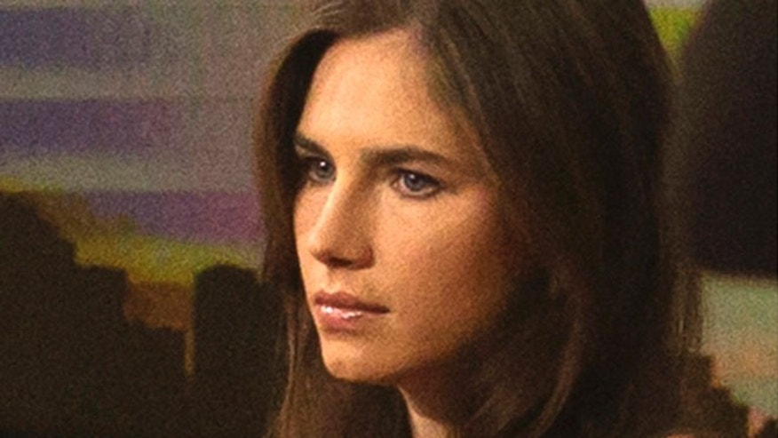 "Sept. 20, 2013: Amanda Knox looks on before speaking on NBC News' ""Today"" show in New York."