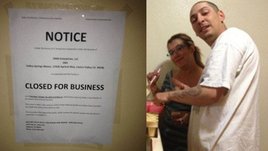 (Left) Notice placed at the entrance of Valley Springs Manor senior home in Central Valley, California. (Right) Miguel Alvarez, 33, janitor helped abandoned seniors for several days at senior home center.