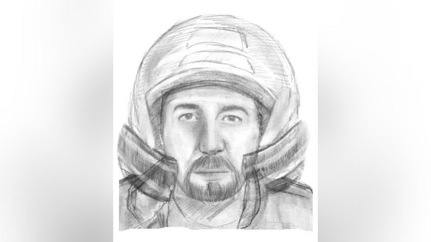 This handout picture released on Nov. 4, 2013, by the SIRPA Gendarmerie, shows a sketch of a motorcyclist wanted in connection with the murders of four people in the Alps last year.  Police investigating the shooting deaths of a British man killed along with three other people in the French Alps in September 2012, have released an artist's impression of a male motorcyclist they would like to track down. (AP Photo/French Gendarmerie)