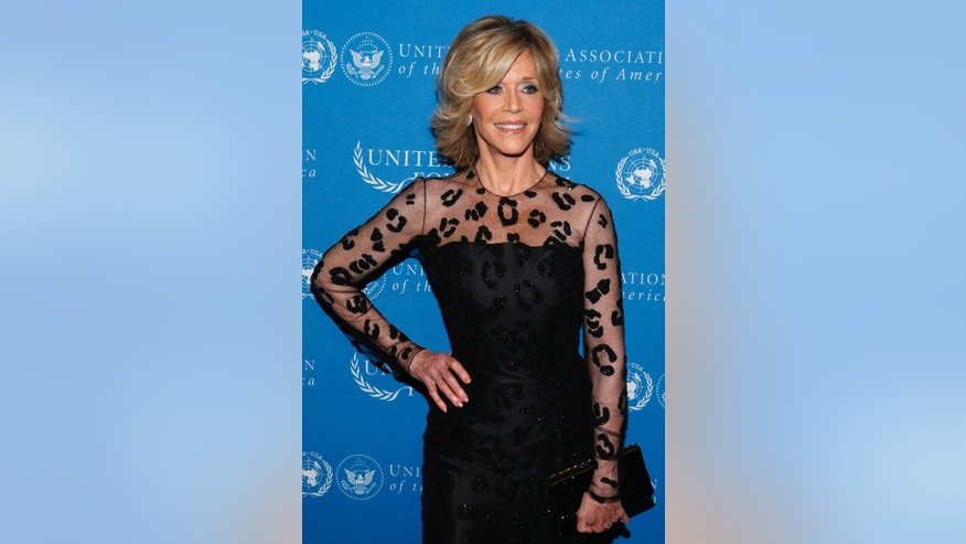 Actress Jane Fonda poses for a photo at the United Nations Foundation Global Leadership Dinner, Wednesday, Nov. 6, 2013, in New York. (AP Photo/Jason DeCrow)