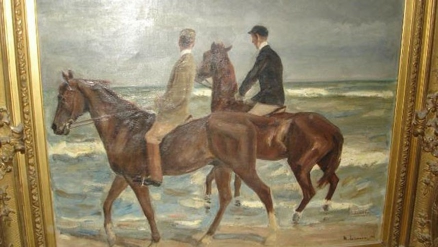 November 12, 2013: Photo provided by the Augsburg, southern Germany, prosecution shows a painting 'Reiter am Strand' ('Riders at the Beach') by German artist Max Liebermann from 1901 that was among the more than 1400 art works that were seized by German authorities in an apartment in Munich in February 2012. Investigators, aided by a leading art historian, are trying to establish the artworks' legal status and history. It's unclear how many of the works might be subject to return to pre-World War II owners. (AP Photo/Staatsanwaltschaft Augsburg)