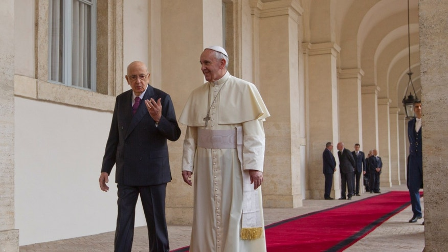 Pope Francis  is welcomed by Italian president Giorgio Napolitano as he arrives for an official visit at the Quirinale Presidential palace in Rome, Thursday, Nov. 14, 2013. (AP Photo/Alessandra Tarantino)