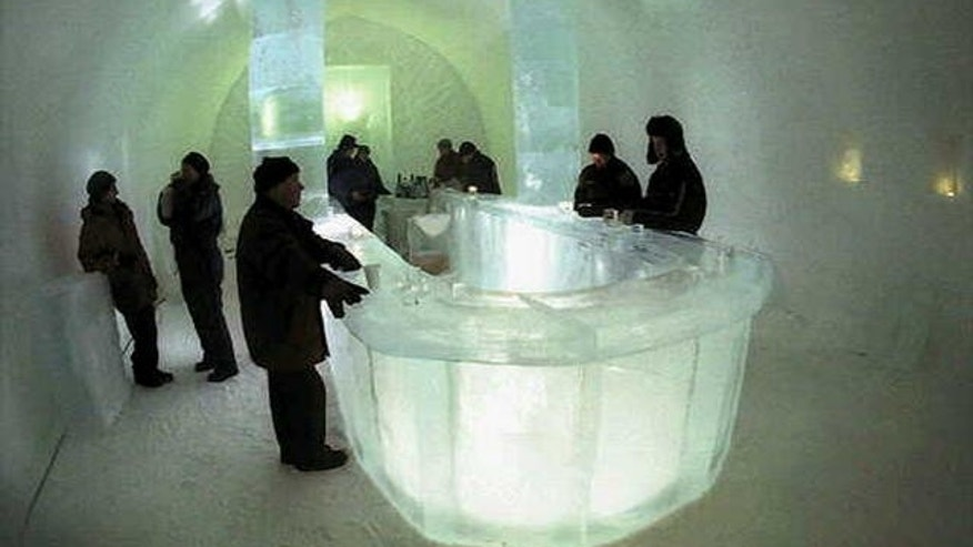 Jan. 3, 1997 - FILE photo of Bar at Jukkasjaervi Ice Hotel, the Swedish hotel constructed from ice.