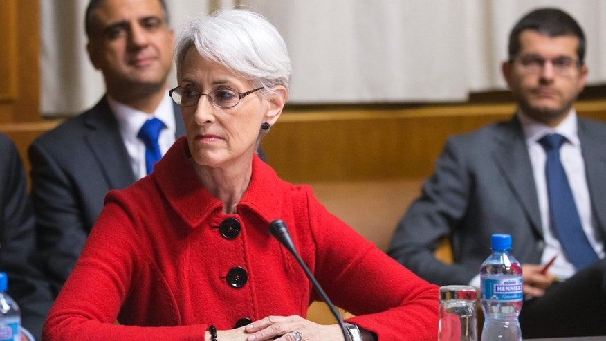 Wendy Sherman, US Under Secretary for Political Affairs, looks to her right before the start of the  three days of closed-door nuclear talks in Geneva, Switzerland, Wednesday, Nov. 20, 2013. (AP Photo/Keystone,Salvatore Di Nolfi)