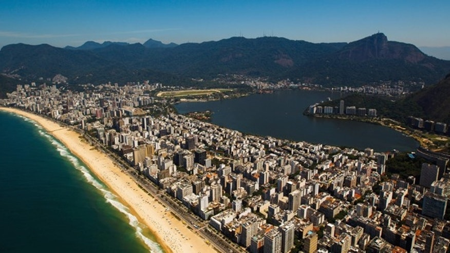 RIO DE JANEIRO, BRAZIL - NOVEMBER 12:  Aerial view of Rodrigo de Freitas Lagoon (Lagoa Rodrigo Freitas)  and Ipanema beach on November 12, 2013 in Rio de Janeiro, Brazil.  (Photo by Buda Mendes/Getty Images)