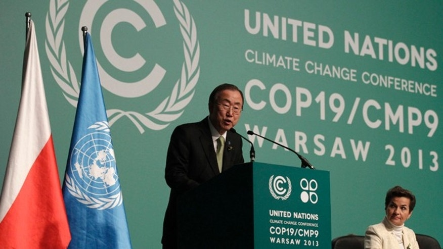 Nov. 19, 2013: U.N. Secretary General Ban Ki-moon delivers a speech as he attends the Convention on Climate Change COP19 conference at the National Stadium in Warsaw