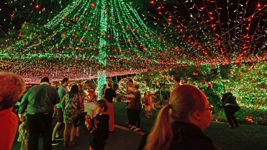 Nov. 24, 2013.: People look at The Richards home illuminated with miniature lights in Canberra.