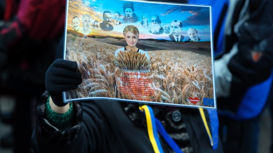 An activist of the Ukrainian Opposition Party holds a poster with a photo of former Ukrainian Prime Minister Yulia Tymoshenko  during a rally in front of the Ukrainian Cabinet of Ministers in Kiev, Ukraine, Wednesday Nov. 27, 2013. Tymoshenko celebrates her  53rd birthday today. (AP Photo/Sergei Grits)