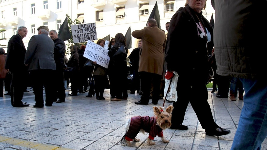 A woman with a dog walks past a group of protesters outside the Health Ministry office in the northern Greek port city of Thessaloniki, Friday Nov. 29, 2013. Greek state hospitals are functioning with emergency staff as doctors and staff hold a 24-hour strike against planned health cutbacks enforced under the country's harsh austerity program. Unions are angry at the conservative-led government's plans to suspend and reallocate staff as part of its drive to reform the public sector and reduce the budget deficit. (AP Photo/Nikolas Giakoumidis)