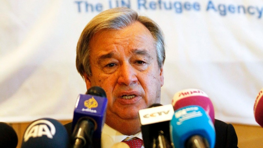 U.N. High Commissioner for Refugees Antonio Guterres speaks at press conference in Amman, Jordan, on Thursday, Nov. 28, 2013. The head of the United Nations refugee agency has called on European and Gulf Arab states to host Syrian refugees who fled the civil war. Guterres says nearly 3 million Syrians have fled to neighboring countries — mainly Jordan, Lebanon and Turkey. He says an additional 6.5 million are displaced in their war-ravaged country.(AP Photo/Raad Adayleh)