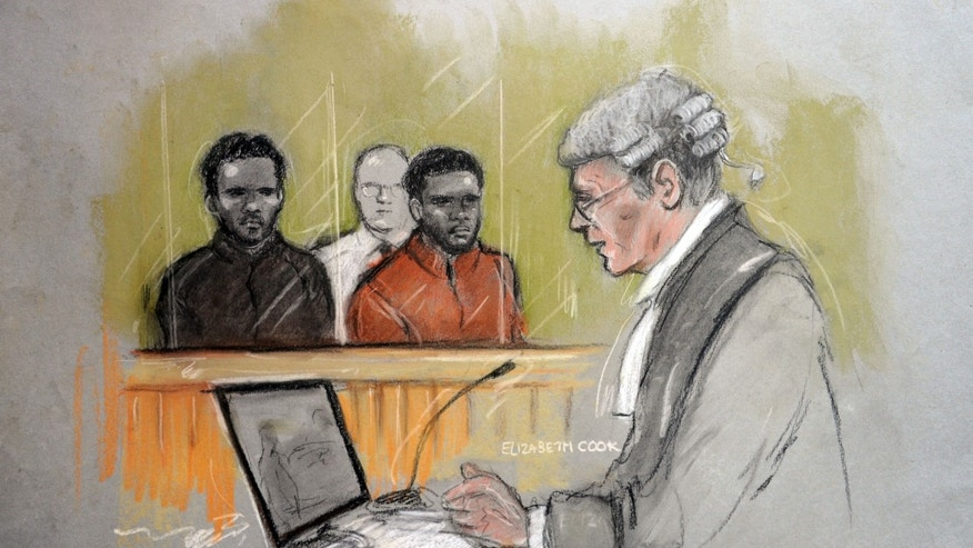 This is a court artist sketch by Elizabeth Cook of the two men accused of the murder of Fusilier Lee Rigby, on the left is Michael Adebolajo, and Michael Adebowale, during their trial at the Old Bailey in central London,  Friday Nov. 29, 2013. Prosecutors showed jurors graphic videotape of the events surrounding the near decapitation of a British soldier on a London street, as the trial of two men opened Friday in the suspected Islamic extremist attack. Michael Adebolajo, 28, and Michael Adebowale, 22, drove their car directly at Lee Rigby of the Royal Regiment of Fusiliers, lifting his body onto the hood and slamming it to the windshield, prosecutor Richard Whittam said.  (AP Photo/PA, Elizabeth Cook) UNITED KINGDOM OUT