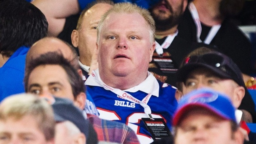 Dec. 1, 2013 In this photo, Toronto Mayor Rob Ford watches the Buffalo Bills play the Atlanta Falcons during the first half of an NFL football game, in Toronto.