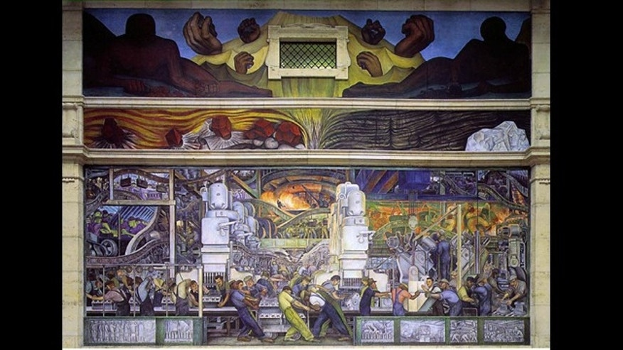 "Diego Rivera's ""Detroit Industry"" mural located in the Detroit Institute of the Arts."