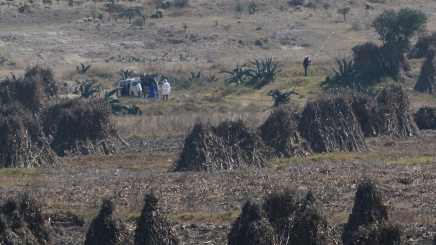 Men stand next to an unidentified vehicle inside a cordoned off area in a field near the village of Hueypoxtla, Mexico, Thursday, Dec. 5, 2013. National nuclear safety officials were engaged Thursday in the delicate task of recovering a stolen shipment of highly radioactive cobalt-60 presumed to be found in this rural field in central Mexico state. The missing shipment of radioactive cobalt-60 was found Wednesday near where the stolen truck transporting the material was abandoned in central Mexico. (AP Photo/Marco Ugarte)