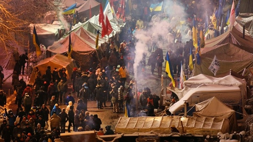 Dec. 9, 2013: Pro-European Union activists gather in their tent camp on Independence Square in Kiev, Ukraine.