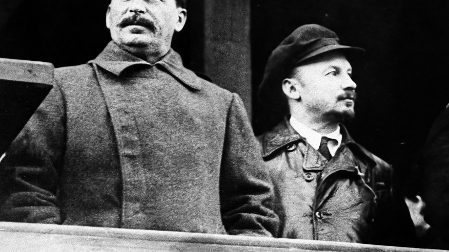 FILE - From left to right, former Russian leader Josef Stalin and Soviet politician Nikolai Bukharin are seen Nov. 21, 1930. North Korea's execution of Kim Jong-un's uncle suggests that the boyish leader has learned to wield their realpolitik playbook, ridding himself of one would-be rival and sowing fear among others who might challenge him. Stalin, Hitler and other of the 20th century's most notorious dictators, methodically ousted opponents to brazenly seize and consolidate power. (AP Photo, File)