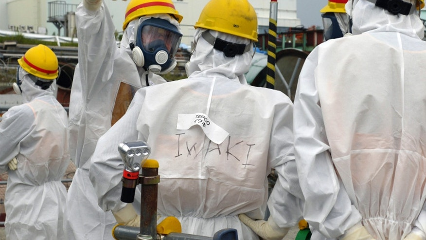 In this Wednesday, Sept. 25, 2013 photo released by the International Research Institute for Nuclear Decommissioning, members of International Expert Group (IEG) confer with a Tokyo Electric Power Co. official, center, as they inspect the decommissioning progress near the Unit 1 building at the crippled Fukushima Dai-ichi nuclear power plant in Okuma, Fukushima prefecture, northeast of Tokyo, during the first IEG meeting held from Sept. 23 - 27. It took until August this year, nearly two and half years after the tsunami, for Japan to set up the International Research Institute for Nuclear Decommissioning, to bring together ideas, both inside and outside Japan, on Fukushima decommissioning and encourage communication. (AP Photo/The International Research Institute for Nuclear Decommissioning)