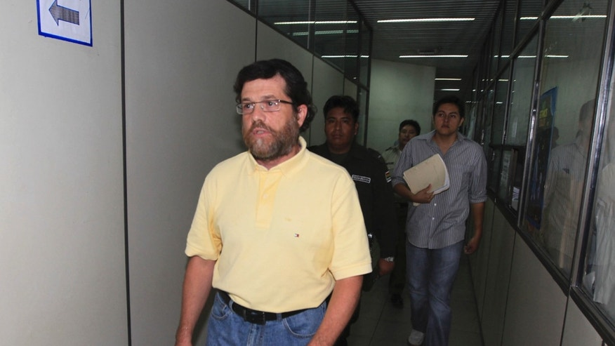 In this March 21, 2012 file photo, Jacob Ostreicher arrives at a court to attend a hearing in Santa Cruz, Bolivia.