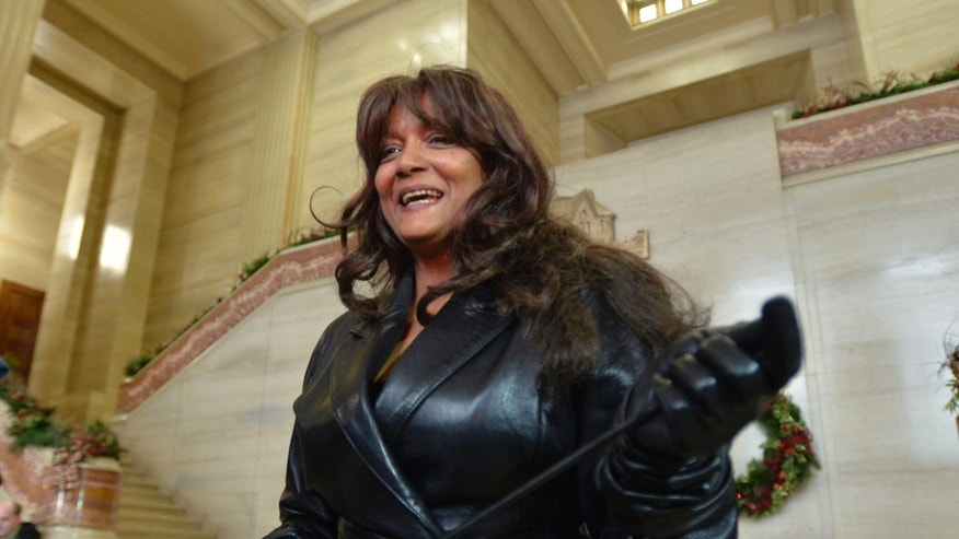 Dec. 20, 2013 - Terri-Jean Bedford talks to reporters at the Supreme Court of Canada in Ottawa after learning the country's highest court struck down prostitution laws in their entirety in a unanimous 9-0 ruling. The retired dominatrix is one of the three principles in the Supreme Court case.
