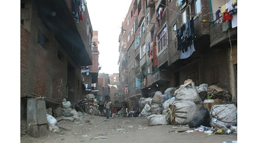 A street in the Garbage City slums on the outskirts of Cairo