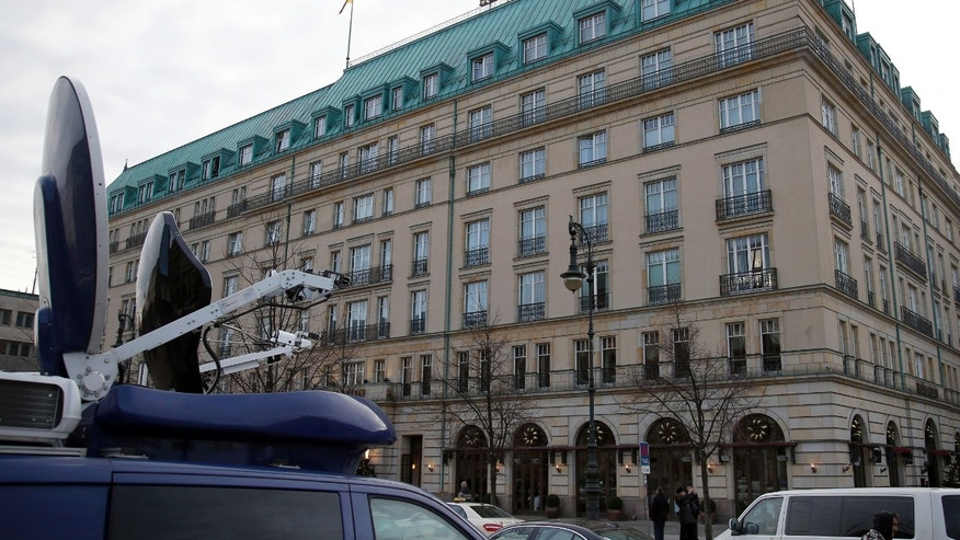 This exterior photo shows Hotel Adlon, where Russian oligarch Mikhail Khodorkovsky is believed to be a guest, in Berlin, Germany, Saturday, Dec. 21, 2013. After spending 10 years in Russian jails for what many in the West believe were trumped-up offenses, former oil tycoon Khodorkovsky left prison in Russia as a free man Friday and immediately flew to Germany. (AP Photo/Michael Sohn)