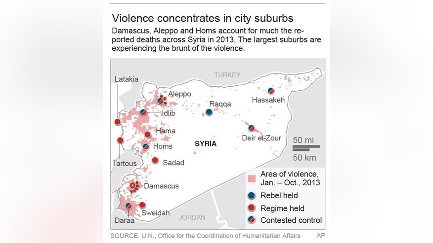 Map summarizes the violence across Syria for 2013.; 2c x 4 inches; 96.3 mm x 101 mm;
