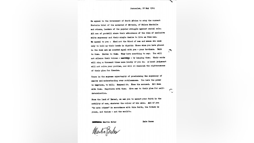 This May 20, 1964 document posted on the website of the Israel State Archives on Monday, Dec. 23, 2013 urges South Africa to release Nelson Mandela and other co-defendants. It is signed by Martin Buber, a prominent Jewish philosopher, and Haim Hazaz, an Israeli author. The letter is among a series of documents published in the wake of Mandela's death that appear to be aimed at blunting criticism of Israel's close alliance with South Africa's apartheid rulers. (AP Photo/Israel State Archives)